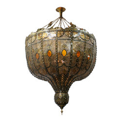 Badia Design Inc. - Large Moroccan Chandelier with Amber Color Glass - Large Moroccan Chandelier with Amber Color Glass