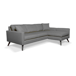 """TrueModern - Dane Apartment Sofa in Calvin Dolphin, Right Chaise - Dane Apartment Sofa in Calvin Dolphin comes with a chaise extension that's intended to fit smaller spaces. Precise seaming, accent top-stitching on the back cushions, the tailored throw pillows included and the angle of the back support finish the modern sofa to a """"T"""". Upholstery is made of 100% polyester (30,000 rub count!)."""