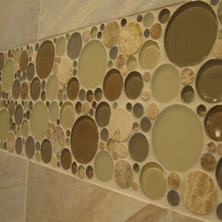 Master Bath Remod - Glazzio Toffee bubbles mosaic shower tile. These were 4x12 pieces double stacked.