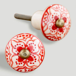 Red Basic Ceramic Floral Knobs - Color doesn't always need to come in large doses. Do you have a cabinet or dresser that could use a little pick-me-up? I love using these in unexpected places, like the bathroom. My guest bath has a couple of these to add a splash of color.