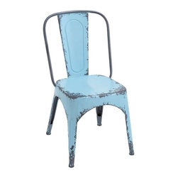 """Benzara - Blue Chair with Dash of Color and Vibrancy in Classic Style - Blue Chair with Dash of Color and Vibrancy in Classic Style. Render interiors with a dash of color and vibrancy with this stylish and elegantly designed metal Blue Chair. It comes with a following dimensions 19""""W x 16""""D x 35""""H."""