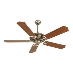 Craftmade - Civic 52 in. Fan in Brushed Nickel w Standard - Fan Specs:. Standard, 3 Speed Reversible Motor. 2 in. and 6 in. Downrods (Included). Meets Energy Star Energy Efficiency Standards. Number of Fan Blades: 5. Blade Pitch: 12°. Motor Size: 153 x 15mm. High Speed Amps: 0.7. RPM (Hi-Med-Low): 200-125-55. Airflow (Cubic FT/MIN): 5159. Electricity Use: 61 Watts. Airflow Efficiency (Cubic FT/Min/Watt): 85. Blade Specs:. Blade Length: 52 in.