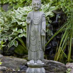 Campania International - Campania International Royal Buddha Cast Stone Garden Statue - OR-117-AL - Shop for Statues and Sculptures from Hayneedle.com! About Campania InternationalEstablished in 1984 Campania International's reputation has been built on quality original products and service. Originally selling terra cotta planters Campania soon began to research and develop the design and manufacture of cast stone garden planters and ornaments. Campania is also an importer and wholesaler of garden products including polyethylene terra cotta glazed pottery cast iron and fiberglass planters as well as classic garden structures fountains and cast resin statuary.Campania Cast Stone: The ProcessThe creation of Campania's cast stone pieces begins and ends by hand. From the creation of an original design making of a mold pouring the cast stone application of the patina to the final packing of an order the process is both technical and artistic. As many as 30 pairs of hands are involved in the creation of each Campania piece in a labor intensive 15 step process.The process begins either with the creation of an original copyrighted design by Campania's artisans or an antique original. Antique originals will often require some restoration work which is also done in-house by expert craftsmen. Campania's mold making department will then begin a multi-step process to create a production mold which will properly replicate the detail and texture of the original piece. Depending on its size and complexity a mold can take as long as three months to complete. Campania creates in excess of 700 molds per year.After a mold is completed it is moved to the production area where a team individually hand pours the liquid cast stone mixture into the mold and employs special techniques to remove air bubbles. Campania carefully monitors the PSI of every piece. PSI (pounds per square inch) measures the strength of every piece to ensure durability. The PSI of Campania pieces is currently enginee