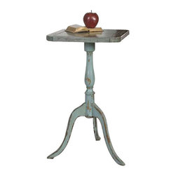 Uttermost Valent Blue Accent Table - Petite, carved mango wood with mindi veneer, hand finished in robin's egg blue with rubbed through distressing. Petite, carved mango wood with mindi veneer, hand finished in robin's egg blue with rubbed through distressing.