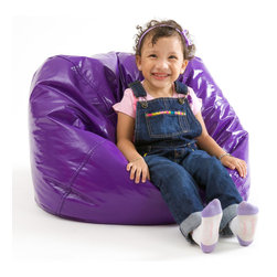 Great Deal Furniture - Taylor  Vinyl Kids Bean Bag, Purple - The Taylor bean bag provides your child a comfortable seat for any room. The puncture-proof vinyl cover is durable for any child with a combination of long-lasting polystyrene beans as well as soft and supple foam.