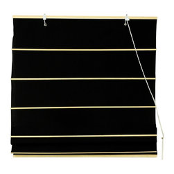 Oriental Unlimited - Cotton Roman Shades in Black (48 in. Wide) - Size: 48 in. Wide. Add an element of softness and modern style to any room of your home with this Roman shade, made of cotton in a rich black finish. Available in your choice of sizes, the shade will be a striking window treatment ideal for keeping out the sun and creating a peaceful, calm retreat. These Black colored Roman Shades combine the beauty of fabric with the ease and practicality of traditional blinds. Made of 100% cotton. Easy to hang and operate. 24 in. W x 72 in. H. 36 in. W x 72 in. H. 48 in. W x 72 in. H. 60 in. W x 72 in. H. 72 in. W x 72 in. H