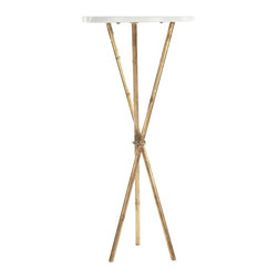 Safavieh - Roger Accent Table - Simple and elegant, the Roger accent table boasts a unique tripod leg design that is compact and perfect for smaller spaces. A beautiful white marble top contrasts the burnished gold leaf patina of the metal legs.