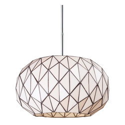 Elk Lighting - Elk Lighting Tetra Modern / Contemporary Tiffany Pendant Light X-3-22027 - The Tetrahedron collection represents a modern approach to Tiffany Art Glass. Using a geometric approach, the triangular shapes make for a fun addition to any game room or your children's room. Think outside the box and add this pendant light to a sports themed room!  Polished Chrome hardware enhances its updated appeal and the white glass makes it easy to combine with numerous color schemes.
