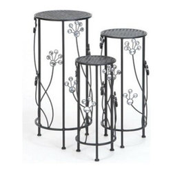 "BZBZ63345 - Set of 3 Round Metal Plant Stand 28"", 24"", 20""H Patio Accents - Set of 3 Round Metal Plant Stand 28"", 24"", 20""H Patio Accents. Some assembly may be required. Size: 12""x12""x28"""