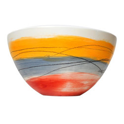 Gail Garcia Dinner-Ware - Tall Bowl, Large, Red/Blue/Orange - Bold brushstrokes dance across a field of buff-colored earthenware in this stunning serving piece by New York artist Gail Garcia. Each bowl is hand-painted and one of a kind, with a matte exterior and gloss interior. It will be beautiful filled with salad, pasta or soup, or just displayed on its own.
