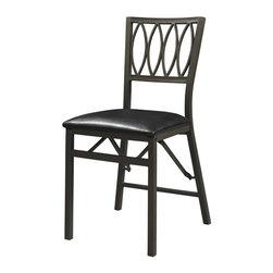 Linon - Linon Arista Upholstered Vinyl Ovals Folding Chair in Black (Set of 2) - Linon - Folding Chairs - 43060MTL02ASU