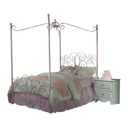 Standard Furniture - Standard Furniture Princess 3-Piece Kids' Canopy Bedroom Set in Pink Metal - Every little girl will be a princess with our frilly metal canopy princess bed as the focal point of her bedroom.