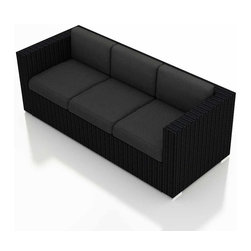 Harmonia Living - Urbana Modern Wicker Sofa, Charcoal Cushions - Take the party outdoors with this clean-lined wicker sofa. It's made of high-density polyethylene that's been treated for long-lasting, fade-resistant color. The seat and back cushions are covered in fade- and mildew-resistant Sunbrella fabric in a solid hue that offers the perfect canvas for your patterned throw pillows.