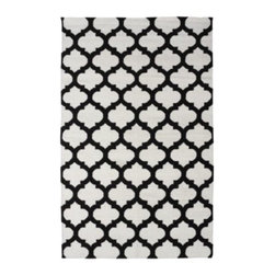 Z Gallerie - Casablanca Dhurrie Rug - Ivory/Black - Our stunning Casablanca Dhurrie Rugs bring a touch of exotic style to complement a variety of decor settings. Artfully hand woven in India, this lush 100% wool traditional flat Dhurrie weave rug showcases Natural Ivory with Black in a traditional quatrefoil motif.