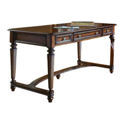 Hooker Furniture - Hooker Furniture Brookhaven Leg Desk - Simple yet functional, this Leg Desk will maximize functionality while keeping a simplistic design. These durable wood products do not expand and contract with heat and cold and do not absorb moisture as much as solid wood. Features: Material: Hardwood Solids with Cherry Veneers. Style: Traditional. Two utility drawers. Center drawer with drop-front for use with a keyboard-23 1/4W x 15 7/8D x 3H. FC620 power outlet with phone and data outlets. Levelers. Finish: Distressed Medium Clear Cherry.