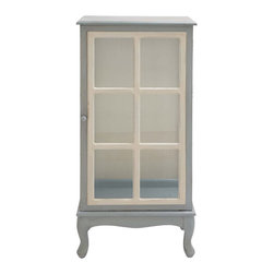 Alyce Cabinet - With a sweetness reminiscent of dollhouses, this dove-gray cabinet puts your lovely articles on display. Its elegant glass front makes it perfect for clothes or vintage collections.