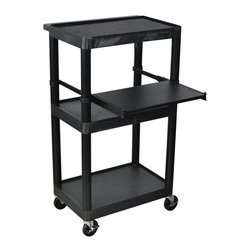 Luxor Furniture - Heavy Duty AV Cart w Keyboard Tray - Four 4 in. durable casters, two with locking brake. For stand-up applications. Hard to beat. Adjustable keyboard shelf. Integral safety push handle molded in to top shelf. 15 ft. cord and 3-outlet surge suppressing electrical assembly. Cable track cord-management system keeps cords neatly secured and free of entanglements. Stain, scratch, dent and rust resistant. Retaining lip and sure-grip safety pads prevent equipment from sliding. 24 in. L x 15.75 in. W x 44.25 in. H. Warranty. Assembly InstructionsLuxor's LT45 is a Laptop Computer Work/Presentation Station that is a well-designed and efficient station on which to use your laptop or overhead projector.