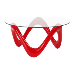 ItalModern - Round Coffee Table - Includes table top, base and hardware. 0.31 in. thick clear tempered glass top. Contemporary style. High gloss fiberglass base in red. Durable and easy-to-clean. Warranty: One year. Assembly required. 35.5 in. Dia. x 17 in. HSolid doesnt begin to describe the Anika tables. The legs form an extra strong x shape that is uniquely creative. One leg thin edge up, while the other is wide edge up. Its a dramatic shape for a beautiful workmate.