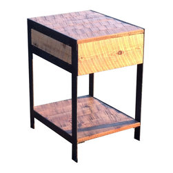 The Rusted Nail LLC - Metal Leg Side Table - The warmth of weathered barn wood mingle effortlessly with the cold look of painted black steel in this durable side table. Finished with a layer of water-based polyurethane to ensure durability, the table offers a drawer crafted with shop-made wooden slides and a bottom shelf suitable for storage.
