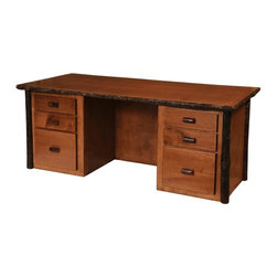 Fireside Lodge Furniture - Hickory 6 Drawer Executive Log Desk (Traditio - Finish: Traditional in StandardHickory Collection. 6 Drawers. Dovetailed drawers are inset for added beauty and quality. Full-extension ball-bearing glides rated at 100 pounds. Client overhang on backside of desk. Bottom drawers are set up for hanging file folders for either legal or letter folders. All Hickory Logs are bark on and kiln dried to a specific moisture content. 2-Year limited warranty. 75 in. W x 31 in. D x 30 in. H (270 lbs.)