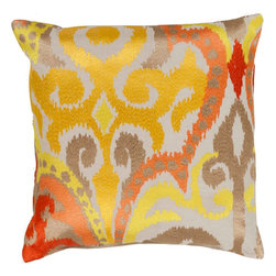 """Surya - Surya AR-072 Radiant Swirl Pillow, 22""""x22"""", Down Feather Filler - Looking for the perfect design to make your space sparkle?? This is the pillow for you. Sure to liven up your room with its stylish design, the splashes of golden yellow and red truly shine against the flawless white backdrop offering an impeccably lustrous and elegant feel. This 18x18 pillow made in Indian with one hundred percent cotton provides a reliable and affordable solution to updating your home's decor. Genuinely faultless in aspects of construction and style, this piece embodies impeccable artistry while maintaining principles of affordability and durable design, making it the ideal accent for your decor."""