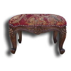 EuroLux Home - New Foot Stool Red French Country Fabric - Product Details