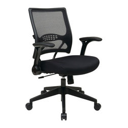 Office Star - Office Star Synchro Tilt Professional AirGrid Back and Mesh Seat Manager Chair - 2-to-1 Synchro Tilt Professional AirGrid back and Mesh Seat Managers chair with Flip Arms and Angled Gunmetal Coated Base