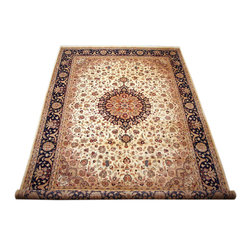 "ALRUG - Handmade Beige Persian Kirman Rug 9' x 12' 3"" (ft) - This Pakistani Kirman design rug is hand-knotted with Wool on Cotton."