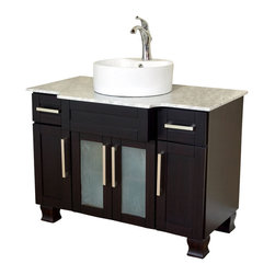 Bellaterra Home - 40 Inch Single Sink Vanity-Dark Mahogany - Add bold style and elegance to any bathroom with one of Bellaterra Home's signature modern vanities. Made with a solid wood construction and precise furniture-quality integrated rabbet joinery, it is adhered with high grade commercial glue and mechanical fasteners for optimal strength and stability. A solid load-bearing back panel provides a strong support for the entire life of the cabinet. In addition, square recess panel doors and drawer panels with a deep mahogany finish add a sophistication that goes well with any bathroom type. Two deep drawers and four door panels are installed with soft close hinges and glides, minimizing slamming. The door panels contain three shelves that provide ample storage for anything you may need. The top is a gorgeous, polished Italian white Carrera marble with a white ceramic sink that sits above counter. This vanity is a truly timeless piece engineered specifically to beautifully match any bathroom design - and yours.