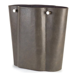 Studio A - Serpentine Wastebasket - Grey - 7.90126 - Shop for Wastebaskets from Hayneedle.com! The soft texture and sinuous shape of the Serpentine Wastebasket Grey give an unexpectedly sensual appeal to an accessory that s often overlooked. This elegant contemporary wastebasket features a pleasing contrast of antiqued grey leather and brushed nickel hardware.About Studio AFounded in 2005 Studio A has quickly established itself as a name to be known within the home furnishings industry. Their eclectic product line of home accents and furniture is united by a strong and intelligent aesthetic one defined by unique inspirations bold textures handcrafted finishes and a discerning appreciation for design history and global influences. Reclaimed materials artist-created accessories and new cutting-edge ideas all hold a place within Studio A s organic high-design product mix. More than a mass-produced object each Studio A creation is a meaningful expression of the timeless qualities through which design provides us a richer life.