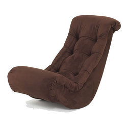 Hannah Baby - Hannah Baby Chocolate Micro Fiber Banana Rocker - This microfiber banana rocker is perfect for watching television, gaming, or just lounging around the house. Made with a wooden frame, this rocker is filled with comfortable polyurethane foam and upholstered with chocolate-colored microfiber.