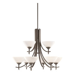 Kichler Lighting - Kichler Lighting 1680OZW Chandelier - Olde Bronze with Satin Etched White Glass - Bulb Type: CAND. Bulb Base: Candelabra (E12). Bulb Count: 9. Bulbs Not Included