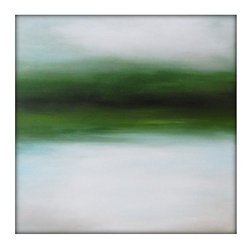 Abstract Landscape Painting on Canvas - Minimalist Abstract Sky Line Landscape Original Painting -Greens, Browns, Whites and more