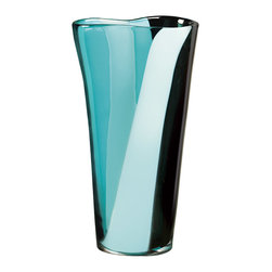 "Qualia - Polaris 12.5"" Vase - Bring a pop of vibrant color to your home using the Polaris Vase. Its slightly wavy rim and multi-colored blue and black layers give it a sleek, bold look. Set it atop an entryway table or mantel along with other contemporary design elements."
