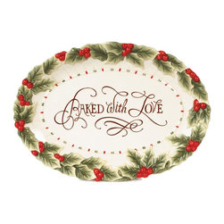 Fitz and Floyd - Fitz and Floyd Baked with Love Cookie Platter - 42-110 - Shop for Plates and Dishes from Hayneedle.com! About Fitz and FloydFitz and Floyd is recognized worldwide as a leader amongst the style- and quality-conscious. For 50 years their unique designs have made them the leader in the purveyor of hand-painted ceramic dinnerware tableware accessories giftware and collectibles. All Fitz and Floyd pieces are easy to spot. Each piece is distinctively hand-crafted by artisans from the drawing board to the sculpting wheel and kiln.The company's Dallas-based studios are renowned for producing over 500 unique designs per year. Creations range from presidential dinnerware for the White House or a tea service for Her Majesty Queen Elizabeth II to the perfect centerpiece for your table and each design is lovingly crafted in the highest quality. Meticulous craftsmanship and exquisite detail make every Fitz and Floyd piece a treasured heirloom-quality gift.
