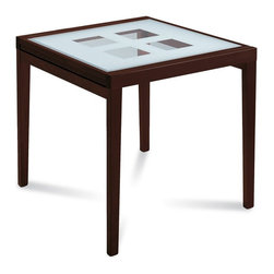 Domitalia - Poker-90 Square Table - Wenge Frame - Screen Printed Glass Pattern Top - A simple glass top takes on a textural quality with screen printed glass pattern work revealing open squares that open table top to the floor below. Poker-90 is an extension table, expanding to 71in when fully extended. The square table features a beechwood frame with tempered glass tops and is offered in two frame finishes. Select Cherry or Wenge finish.
