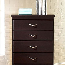 Standard Furniture - Crossroads 5 Drawer Chest in Cherry - Modern style worth embracing. Silver color handles accent the dark finish. Offers ample storage space. French dovetail drawers. Roller side drawer guides. Top drawers are felt lined to protect delicate items. Slender silver color handles are sleek and stylish. Surfaces clean easily with a soft cloth. Wood products with simulated wood grain laminates. Group may contain some plastic parts. Cherry finish. 31 in. L x 15 in. W x 48 in. H