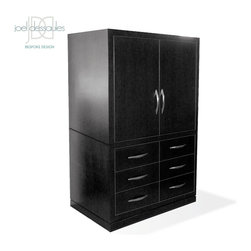 Chandler Armoire - The Chandler Armoire is clean, tailored and modern with ample storage in the 6 deep drawers. Features European hardware, Pocket Doors, spacious interior with component compartments and grommeted holes for easy wire management.