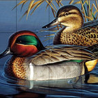 The Tile Mural Store (USA) - Tile Mural - Green Wing Teal Couple - Cf - Kitchen Backsplash Ideas - This beautiful artwork by Cynthie Fisher has been digitally reproduced for tiles and depicts a pair of ducks sitting in a lake.  Images of waterfowl on tiles are great to use as a part of your kitchen backsplash tile project or your tub and shower surround bathroom tile project. Pictures of egrets on tile, images of herons on tile and decorative tiles with ducks and geese make a great kitchen backsplash idea and are excellent to use in the bathroom too for your shower tile project. Consider a tile mural of water fowl for any room in your home where you want to add interesting wall tile.