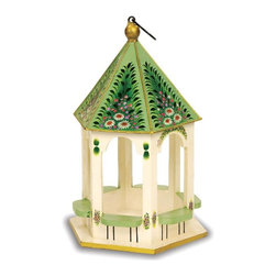 "Achla - Little Gazebo Birdfeeder - This charming and adorable gazebo features hand painted florals and darling details which make it a quaint and attractive bird feeder.  A delicate gold-colored lining on the top helps to bring out its sweet decorations and cute construction. * Wood constructionHand painted10 1/2""W x 12""D x 18""H"