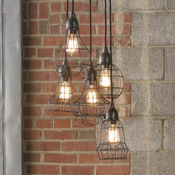 Industrial Cage Work Light Chandelier