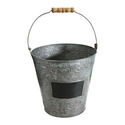 "Pier Surplus - 9.5"" Decorative Metal Garden Bucket with Wood Handle #GD221930 - Standing 9.5"" tall, this metal pail is a perfect way to display beautiful blooming plants and kitchen herbs. Each is made from durable metal with a spot on which to add a label, if you like. Imagine several lined up, their  speckled surfaces uniformly supporting a row of callas, tulips, or whatever your heart desires. Fill with plants and offer them as keepsakes as a wedding reception or baby shower."