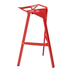 Modernist Bar Stool in Red - Edgy, minimal and in a bright tomato red. We love the architectural edge of this stackable stool. Not only is it comfortable to sit in, it looks great in any room.