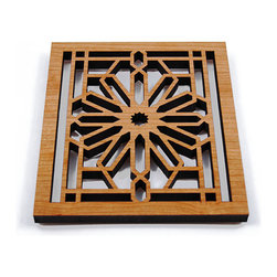 "Lightwave Laser - Frank Lloyd Wright Rookery Hardwood Trivet - The Frank Lloyd Wright Rookery Hardwood Trivet is adapted from a detail of the balustrade accenting the staircases and second floor of The Rookery Building. On the National Register of Historic Places, it is one of the most highly recognized buildings in Chicago. Wright was hired to update its stunning two story sky-lit lobby in 1905. Precision laser cut wood for quality of finish and design accuracy. Cushioned feet. Comes with sawtooth hanger for (optional) wall display. Dimensions: 7.75"" x 6.75"" x .5""."
