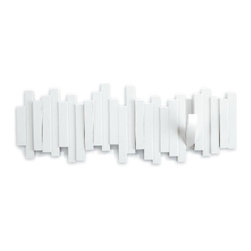 Timber Coat Rack, White - The white uneven bars would add great texture to plain white walls or a great pop to colorful walls.