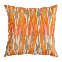 """Z Gallerie - Calypso Pillow 24"""" - Enliven your décor with saturated hues of lemon, mandarin and ivory with our exclusive Calypso Pillows. Inspired by traditional ikat patterns, blends of colors decoratively intermingle creating a stunning display of contrast and texture. Display as a show stopping accent pillow, or pair together with a contrasting mix of prints for an enticing display of pattern.  Generously sized at 24 inch square and filled with pure feathers, our Calypso Pillows are the ultimate in sink-into sumptuousness. Available in Mandarin and Sapphire."""
