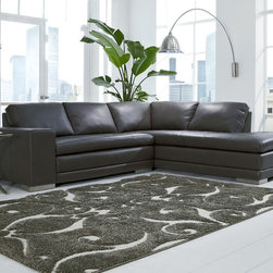 Novo Grey contemporary Sectional - Contemporary grey sectional with full padded chaise and back. Squared arms and exposed legs.