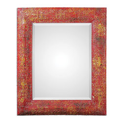 """Uttermost - Uttermost Aeliana Red Mirror 13859 - Frame features a heavily distressed, antique red finish with aged yellow undertones and black accents. Mirror features a generous 1 1/4"""" bevel. May be hung horizontal or vertical."""