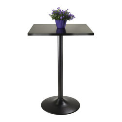 "Winsome Wood - Winsome Wood Obsidian Pub Table Square Black MDF Top with Black leg and base X-2 - Sleek and stylish all black Counter Height Table.  Square Table Top is veneer in black on composite wood with metal black coating for base.  Table size 23.7"" Square by 35"" high.  Easy Assembly."