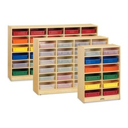 Jonti-Craft Paper-Tray Mobile Storage - A smart choice for schoolwork or crafts storage, the Jonti-Craft Paper-Tray Mobile Storage is built for outstanding durability and easy mobility, with acrylic-coated wood mounted on mobile casters. This versatile storage system is available in multiple size options, and can be purchased without trays or with clear or rainbow trays. Made in the USA, this storage system comes with a lifetime guarantee from Jonti-Craft.About Jonti-CraftFamily-owned and operated out of Wabasso, Minn., Jonti-Craft is a leading provider of quality furniture for the early learning market. They offer a wide selection of creatively designed products in both wood and laminate materials. Their products are packed with features that make them safe, functional, and affordable. Jonti-Craft products are built using the strongest construction techniques available to ensure that your furniture purchase will last a lifetime.